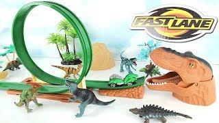Chomping Mouth Dinosaur Dino Double Loop Race Car Track with Jurassic World Dinosaur Toys!