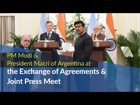 PM Modi & President Mauricio Macri of Argentina at Exchange of Agreements & Joint Press Meet | PMO
