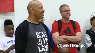 LaVar Ball (STAY IN YO LANE) and Timmy Allen EXCHANGE WORDS then LaMelo Ball Blocks him from behind