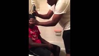 Dad Disciplines son with Bad hair cut