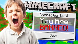 BANNING MY LITTLE BROTHER IN MINECRAFT!