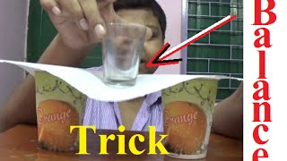 Balance glass on page - Science Trick on Hindi