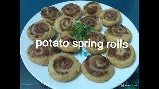 How to make potato spring rolls/Aloo bhakarwadi recipe in Hindi/ samosa pinwheel/,samosa roll