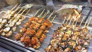 Grilling 'Dakkochi' Spicy Chicken Skewers. Korea Street Food in Hongdae, Seoul