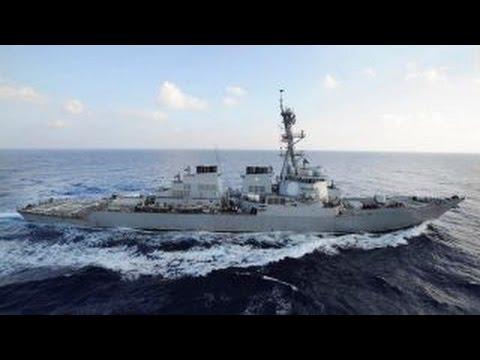 watch US Navy destroyer warns Iranian vessels