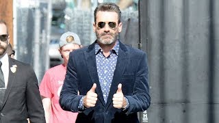 Jon Hamm Cuts A Handsome Frame As He Dons Swanky Suede Suit For Jimmy Kimmel Live