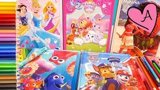 Juguetes en español para colorear de Princesas Disney, Patrulla canina, Moana y Buscando a Dory