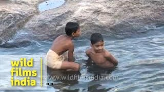 Boys dip into the waters of the river at Thiruvalluvar Temple