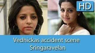 Actress Vedhikas accident scene in Sringaravelan HD