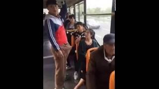 Girl romantic expression in bus..