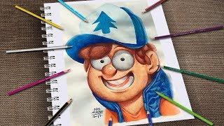 Dibujando a Dipper Pines Gravity Falls Facíl Con Lápices de colores Kores