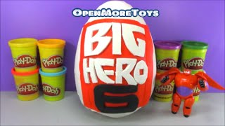 Big Hero 6 Giant Surprise Egg PLAY DOH Baymax with Minecraft Toys and More!