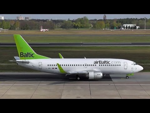 Air Baltic Boeing 737-36Q WL classic YL-BBL BT 212 close up taxiing & takeoff Berlin Tegel Airport