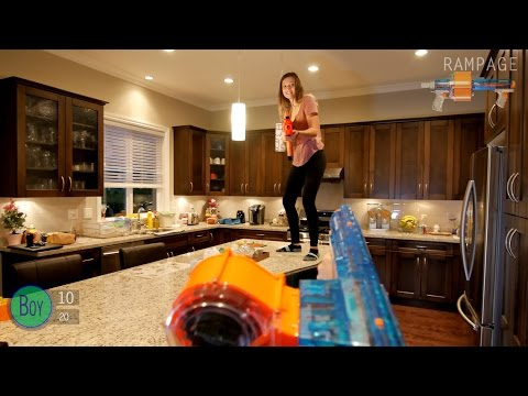 Nerf War: BOY vs GIRL | First Person Shooter in 4K!