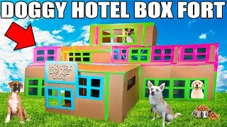3 STORY DOG BOX FORT HOTEL!! 📦🐶