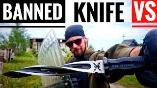BANNED KNIFE (M48 Cyclone) VS Riot Shield, Kevlar Vest (Extreme Penetration Test)