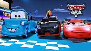 Cars Lightning McQueen NEON Unlocked vs Yokoza Track - Fast as Lightning NEON RACING!