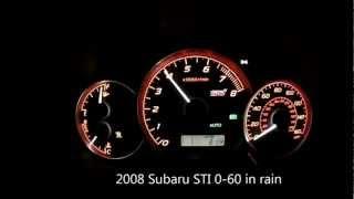 2008 Subaru STI 0-60 In Rain With Launch Control