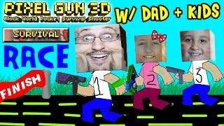 Dad & Kids play Pixel Gun 3D: SURVIVAL RACE (pt. 3) (iOS Multiplayer Face Cam)