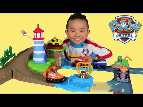 Paw Patrol Skye & Zuma s Lighthouse Rescue Track Set Toy Unboxing Fun With Ckn Toys