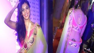 Sara Loren looking gorgeous in low waist tranpsarent saree at DVAR exhibition.