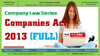 CL =1= Introduction to Company Law - Companies Act 2013 (Full series for Jun/Dec 2016)