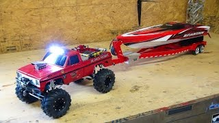 RC ADVENTURES - Beast 4x4 with a Cormier Boat Trailer - Traxxas Spartan Speed Boat in Tow!