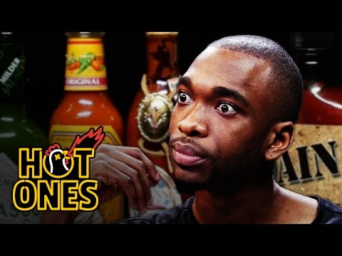 Jay Pharoah Has a Staring Contest While Eating Spicy Wings Hot Ones
