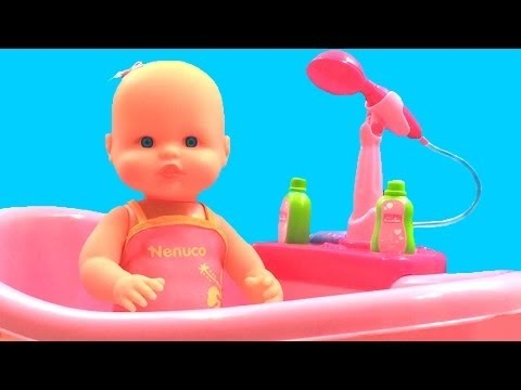 Baby Doll Bathtime Nenuco Baby Girl Change Diaper How to Bath a Baby Toy Videos
