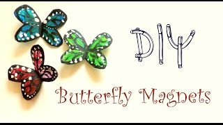 DIY Butterfly Magnets using a plastic bottle | Plastic Bottle Crafts Ideas| by Fluffy Hedgehog