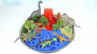 DIY VOLCANO ERUPTION with Lava. Learn Dinosaurs Volcano Science Kit for Kids Orbeez Beach 화산 공룡