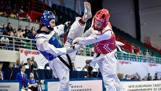 Hakan Recberv (TUR) vs Lovre Brecic (CRO). European Taekwondo Championships Kazan-2018