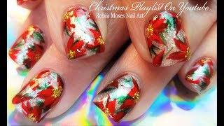 Beautiful Christmas Nails! Red Poinsettias and Glitter Nail Art Design