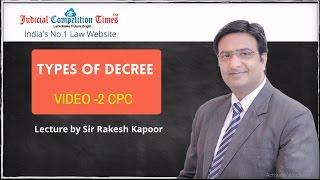 Types Of Decree, Civil Procedure Code, 1908 By Sir Rakesh Kapoor -Video No-2
