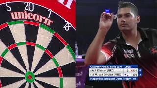 8 legs in just 10mins 17secs - Klaasen v van Gerwen - HappyBet European Darts Trophy 2016