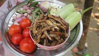 Cooking Dry Fish, Brinjal Gravy Recipe | Two Varieties Dry Fish | VILLAGE FOOD