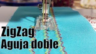 Coser zigzag con aguja doble o aguja gemela