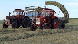 Heu pressen | 2x Belarus MTZ 80 + Fortschritt K 454