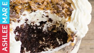 Better than Sex Trifle recipe - chocolate cake, caramel, toffee and whipped cream