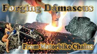 Forging Motorbike Chain Damascus! With etched outcome! 4K UHD  (((FORGE)))