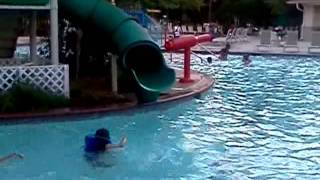 Darien coming out the water slide
