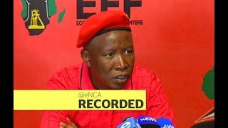 EFF leader Julius Malema briefs the media ahead of party
