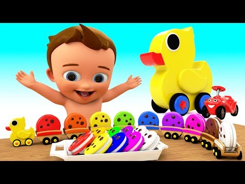Learn Colors for Children with Baby Duck ToyTrain Biscuits 3D Kids Toddler Learning Educational Vi
