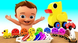 Learn Colors for Children with Baby Duck ToyTrain Cookies 3D Kids Toddler Learning Educational Video