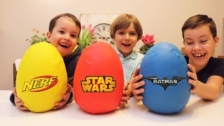 Lego, Nerf and Star Wars Big Play Doh Surprise Eggs - Yellow Red and Blue