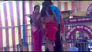 Two sexy girl to a young man just sexy dance in Bengali Jatra Stage