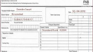 FNB - How to fill FNB  or First National Bank Deposit Slip of South Africa