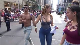 DOMINICAN DAY PARADE 2017 NEW YORK - BEAUTIFUL DOMINICAN GIRLS REPRESENTING DOMINICAN BEAUTY