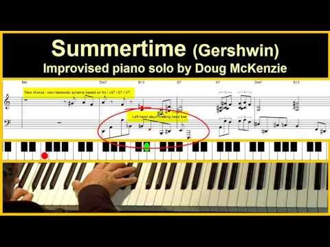 Summertime - jazz piano tutorial
