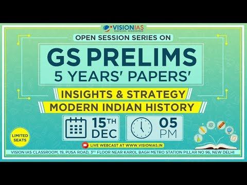 Open Session Series on GS Prelims 5 Years Papers Insight & Strategy Modern Indian History